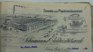 Briefkopf Schumanns Elektrizitätswerk